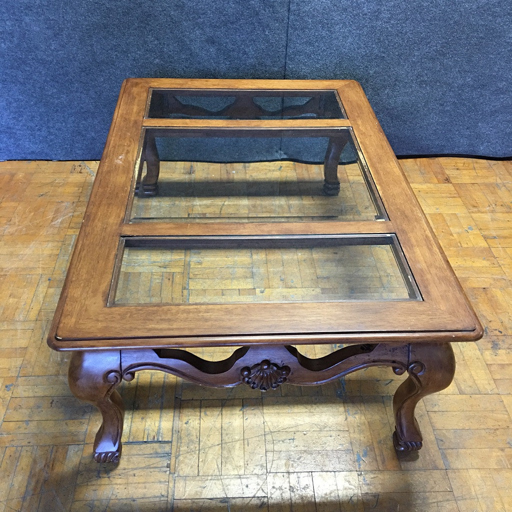 Carved Wooden Coffee Table w/ Glass Top (#6270) - The Things And Stuff - 6
