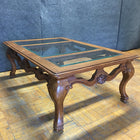 Carved Wooden Coffee Table w/ Glass Top (#6270) - The Things And Stuff - 7