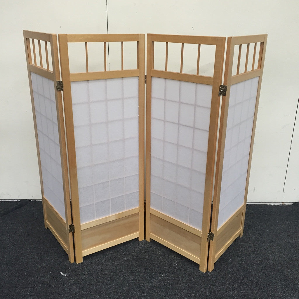 Oriental Four-Panel Screen, Room Divider (#5150) - The Things And Stuff - 1