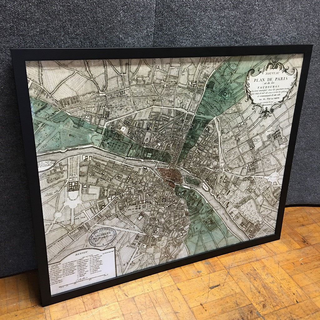 Framed 'Plan De Paris' Map Print (#6160) - The Things And Stuff - 1