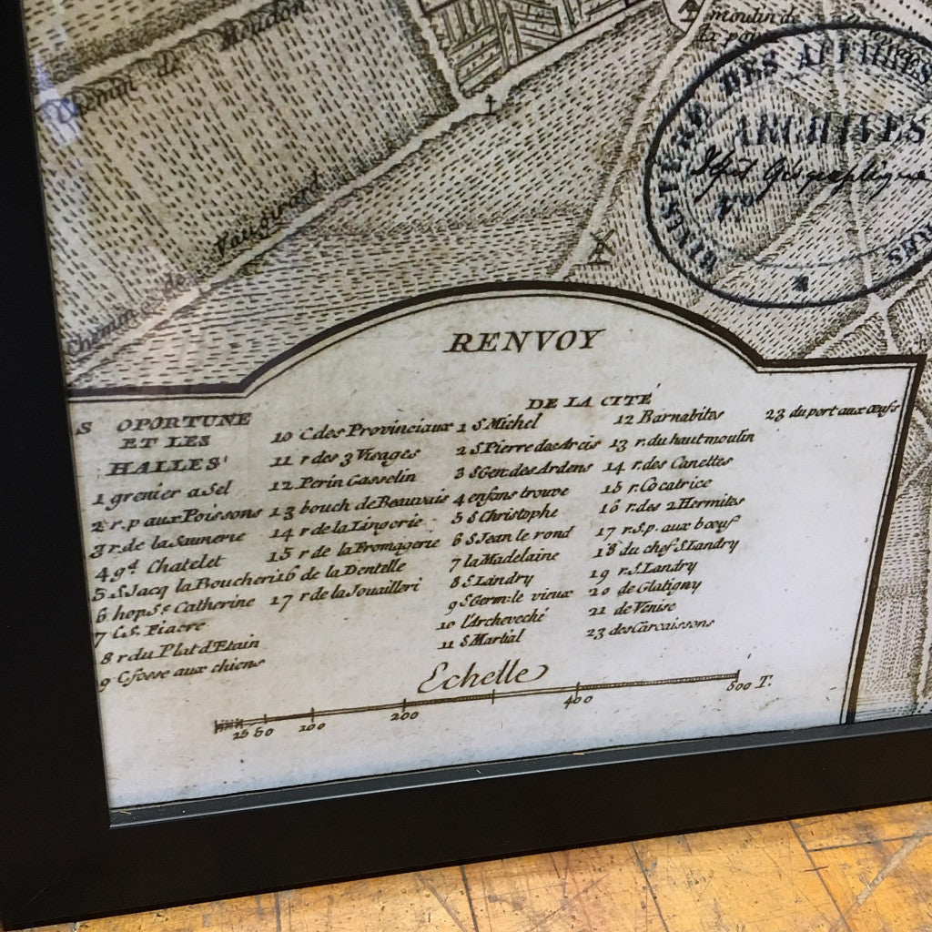 Framed 'Plan De Paris' Map Print (#6160) - The Things And Stuff - 6
