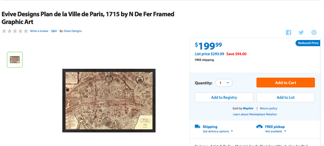 Framed 'Plan De Paris' Map Print (#6160) - The Things And Stuff - 2