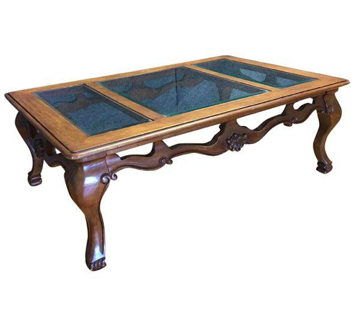 Carved Wooden Coffee Table w/ Glass Top (#6270) - The Things And Stuff - 1