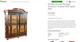German Hand Painted Wooden Armoire (#6331) - The Things And Stuff - 2