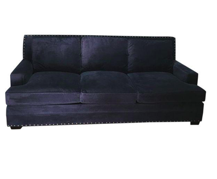 Blue Faux Velvet Oversized Isabelle Sofa (#6390) - The Things And Stuff - 1