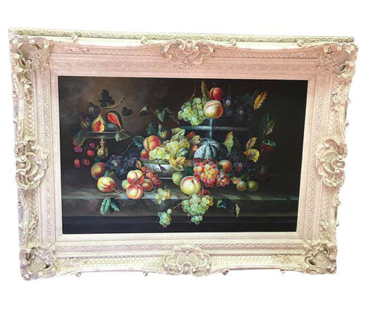 Still Life Fruit Painting w/ Victorian Frame (#6530) - The Things And Stuff - 1
