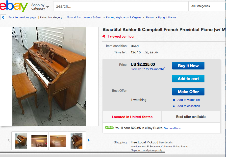 Antique Cherry Wood Upright Piano w/ Bench by Kohler & Campbell (#6548) - The Things And Stuff - 2