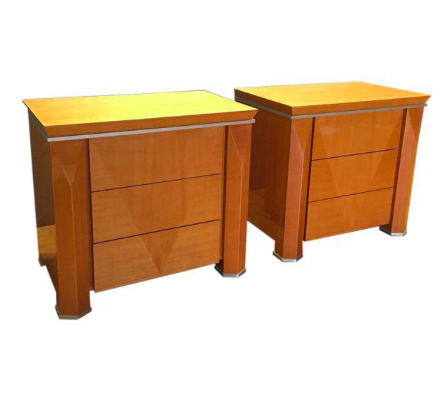 Pair of Giorgio Collection Glossy Wood & Metal Nightstands (#6731)