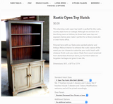 Rustic Wooden Cabinet w/ Open Hutch (#6980)