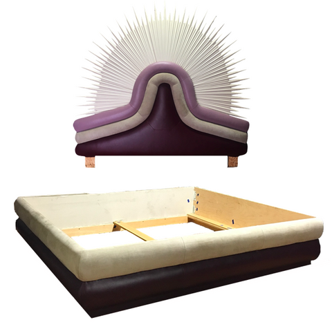 Suede California King Bed W/ Sunburst Headboard (#7008)