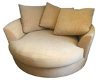 Large Circular Beige Lounge Chair w/ Pillows (#6998)