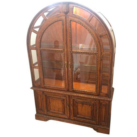 French Provincial Wood & Glass Display Cabinet (#7010)