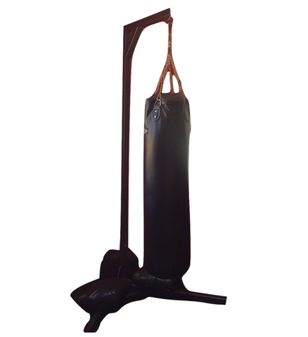 Large Black Fitness Punching Bag w/ Metal Stand (#7003)