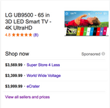 "LG Ub9500 65"" 3D LED Smart Tv w/ 4k Ultra Hd (#7017)"