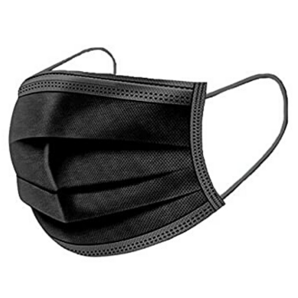 Black 3 Ply Disposable Face Mask