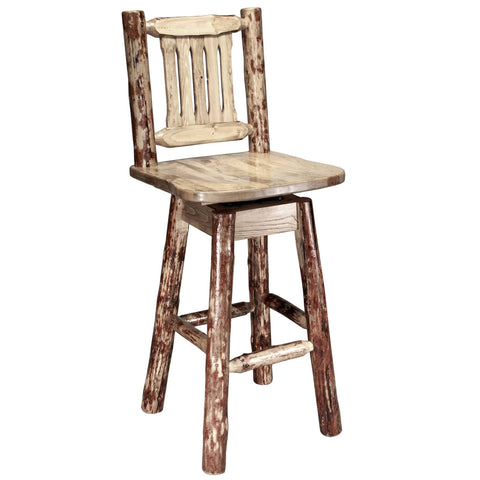 Montana Woodworks Glacier Bar Chair w/ Back & Swivel_Bar Stool - Barstool Boutique