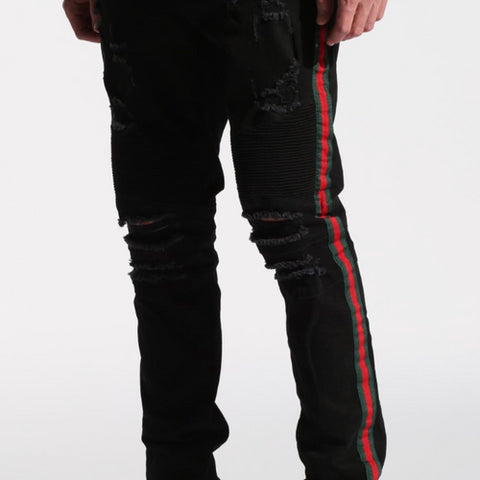 Embellish Tariq Biker Denim w/ Stripe