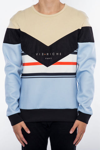 Vie-Riche V Panel Striped Crew