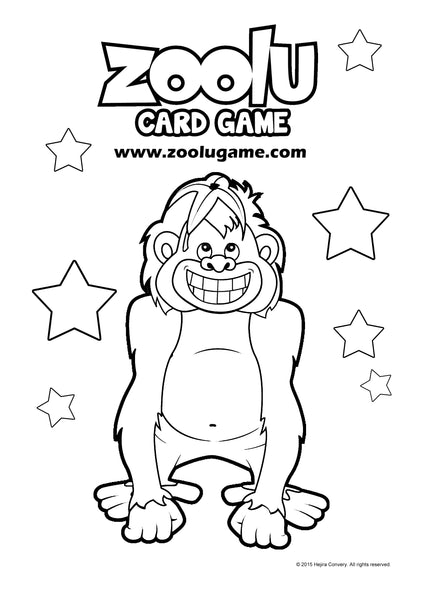 Zoolu Card Game Colouring In Printable for Kids