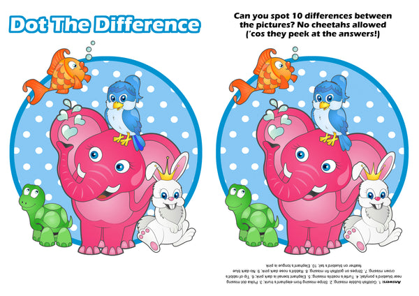 Zoolu Card Game Spot the difference Printable for Kids