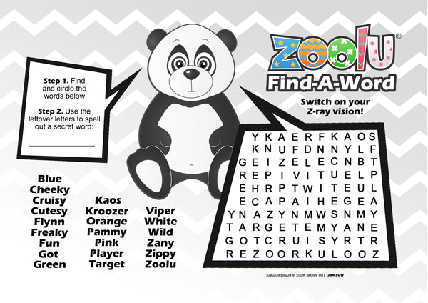 Zoolu Card Game Word Find Printable for Kids