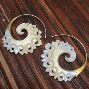 Mother of Pearl Shell sculpted earrings