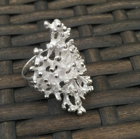 Coral Dimensional Silver Ring