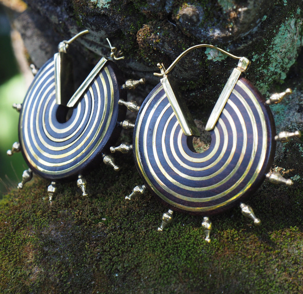 Wood & Brass Free Tribes Earrings