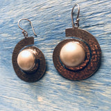 Silver spiral Earrings with Pearl