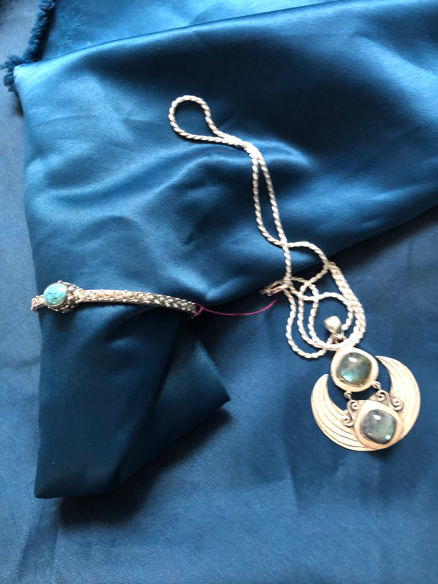 Luna Atlantica Set -  Bracelet and Necklace with Silver Chain