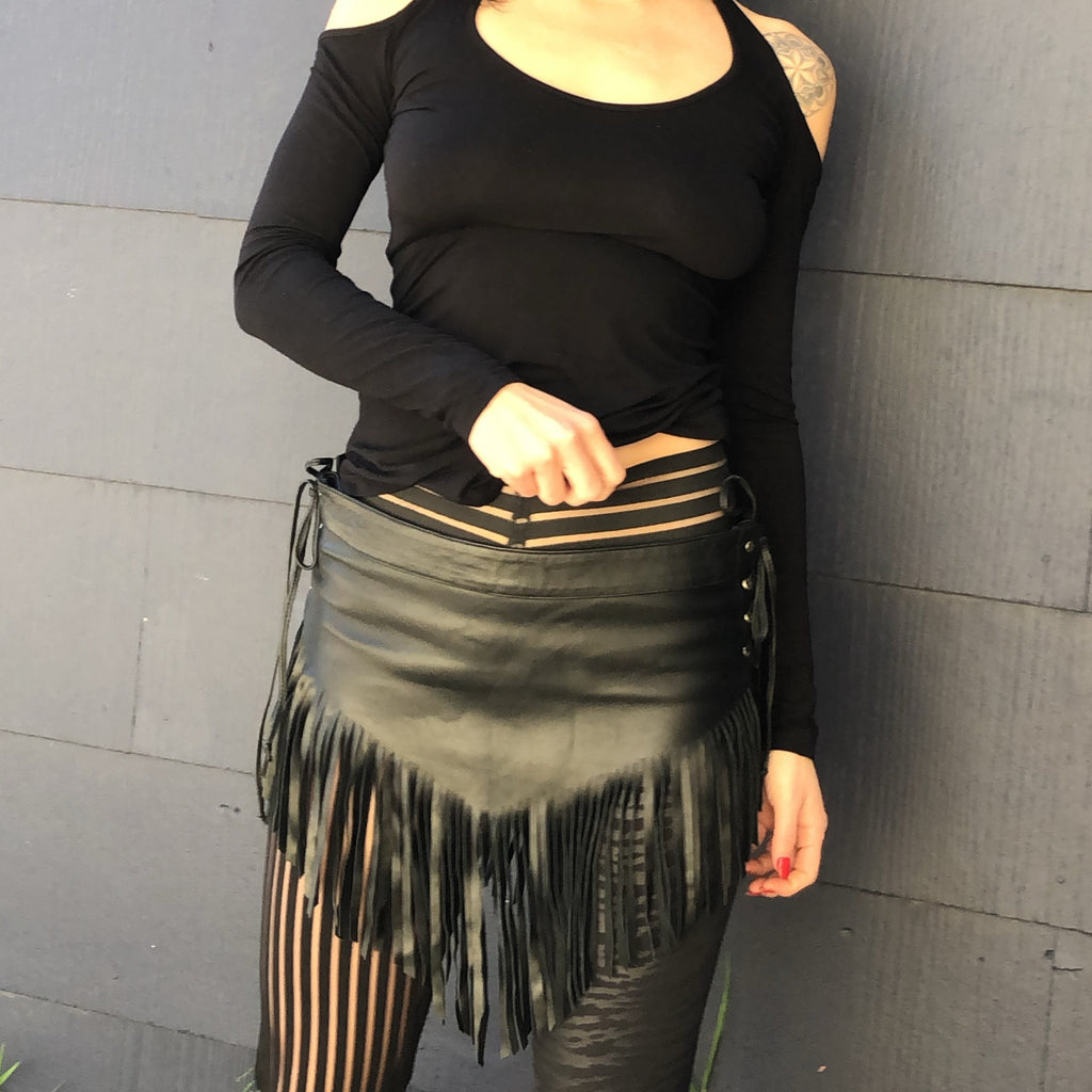 Fringe Leather Mini Skirt