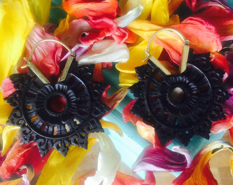 Exotic Mandala Wooden Earrings