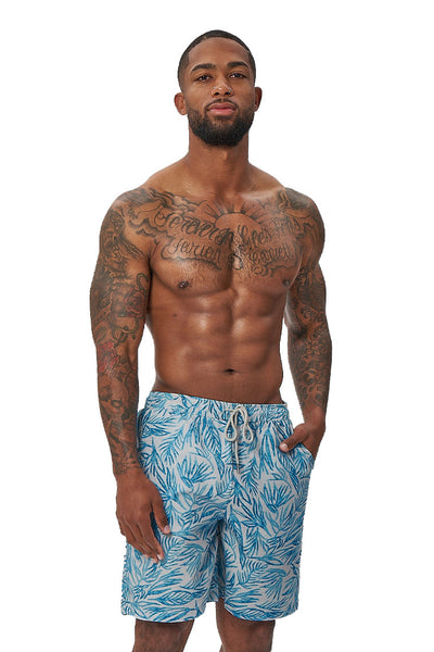 crew love beach shorts-leaf print - Icon