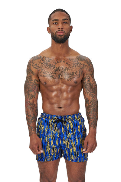 power trip beach shorts-blue multiprint - Icon