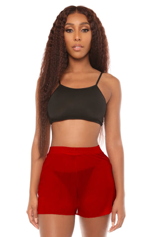 mesh you up shorts- red