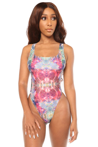 bringing the vibes monokini- print - Icon