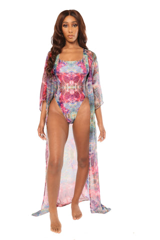 in the flow cover up- pastel print