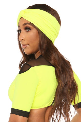 heads up headband-neon yellow