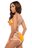 don't cross me bikini- orange