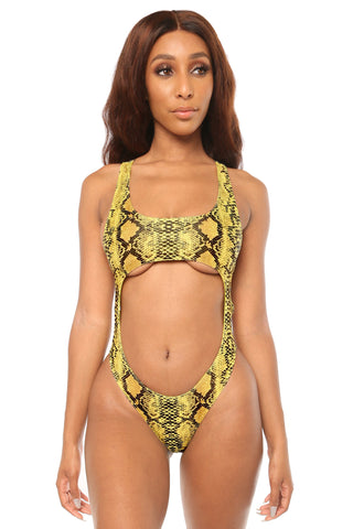 closing in monokini- yellow