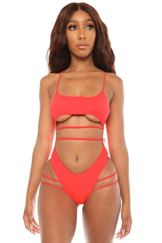 in a daze swimsuit- coral