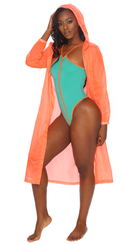 orange mesh kimono with hood