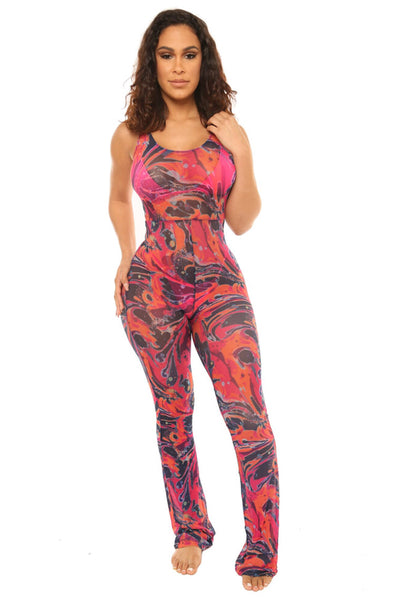 play the game jumpsuit-pink print - Icon