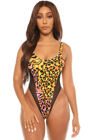 born wild swimsuit-pink print - Icon