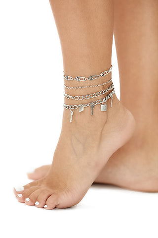 Lock it up anklet set- silver - Icon