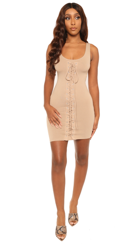 tie you up dress-taupe - Icon