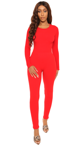 catch a vibe bodysuit set-red - Icon