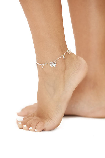 the butterfly pendant anklet-silver - Icon