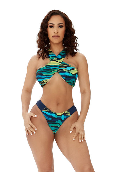 heatwave bikini-green abstract print - Icon