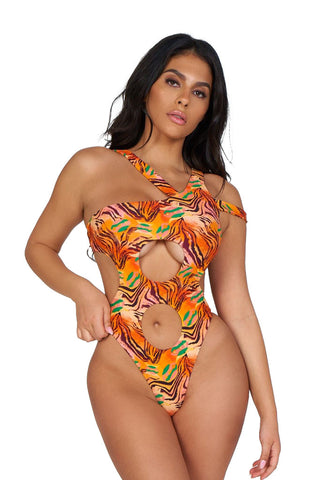 305 monokini-orange zebra print - Icon